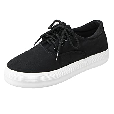 6080bbda036d Canvas Lace up Shoes Casual Round Toe Classic Sneakers Low Cut Hidden Heel  Spring Shoes for