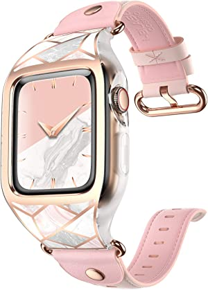 i-Blason Cosmo Designed for Apple Watch Band Series 6/SE/5/4 [40mm], Stylish Sporty Protective Bumper Case with Adjustable Strap Bands for Apple Watch 40mm (Marble)