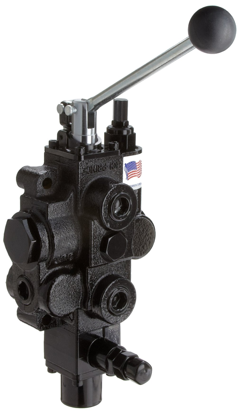 Prince RD513CE5A4B1 Directional Control Valve, Monoblock, Cast Iron, 1 Spool, 4 Ways, 3 Positions, Tandem, Pressure Release Detent, Spool ''Out'' Only, Spring Center, Lever Handle, 3000 psi, 30 gpm, In/Out: 3/4'' NPT Female, Work 3/4'' NPT Female