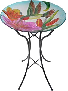 "Peaktop Outdoor Garden Hand Painted Hummingbird Fusion Glass Bird Bath, 21"" Height, Blue/Green"