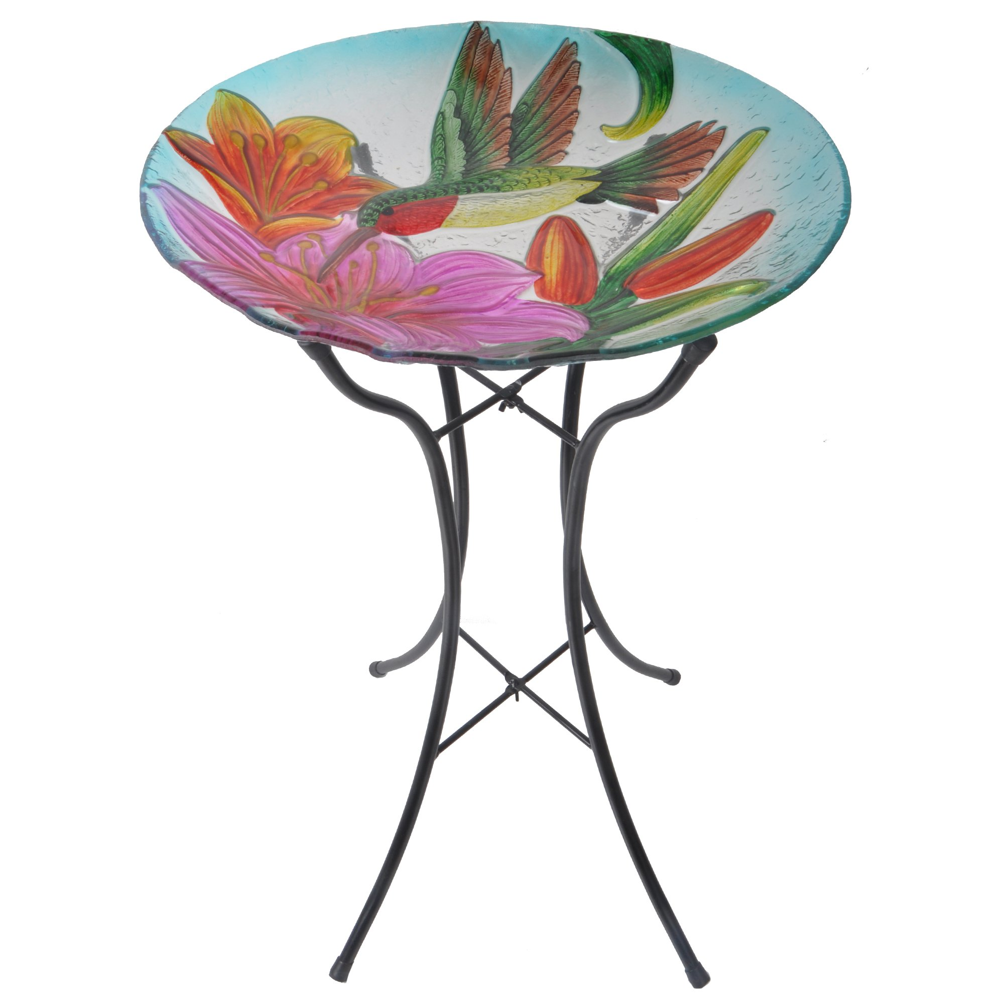 Peaktop - Outdoor 18-inch Hummingbird Fusion Glass Bird Bath w/Metal Stand - Pink and Green