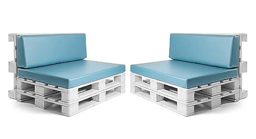 Conjunto colchonetas para sofas de palet y respaldos (2 x Unidades) Cojin relleno con espuma. Color Turquesa | Cojines para chill out, interior y ...