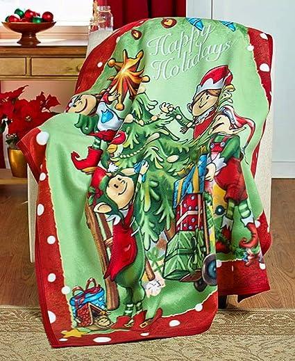 elf christmas fleece holiday throw - Christmas Fleece