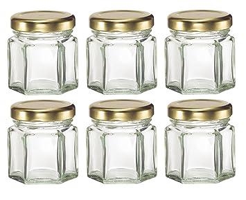 mini hexagon glass jars for jam honey wedding favors shower favors baby - Spice Jars