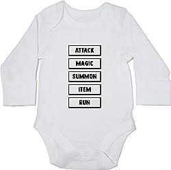 409aa9ffa Hippowarehouse RPG menu Attack Magic Summon Item Run Baby Vest Bodysuit  (Long Sleeve) Boys