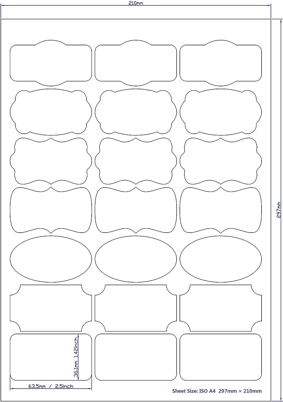 Tama/ño: 63.5 * 36.1mm 10 hojas // 2 botellas almacenamiento Mr-Label/® 7 Tipos de Fantas/ía Forma impermeables Etiquetas adhesivas removibles Organizaci/ón y presentaci/ón Pegatinas resistente a la rotura de cocina Uso
