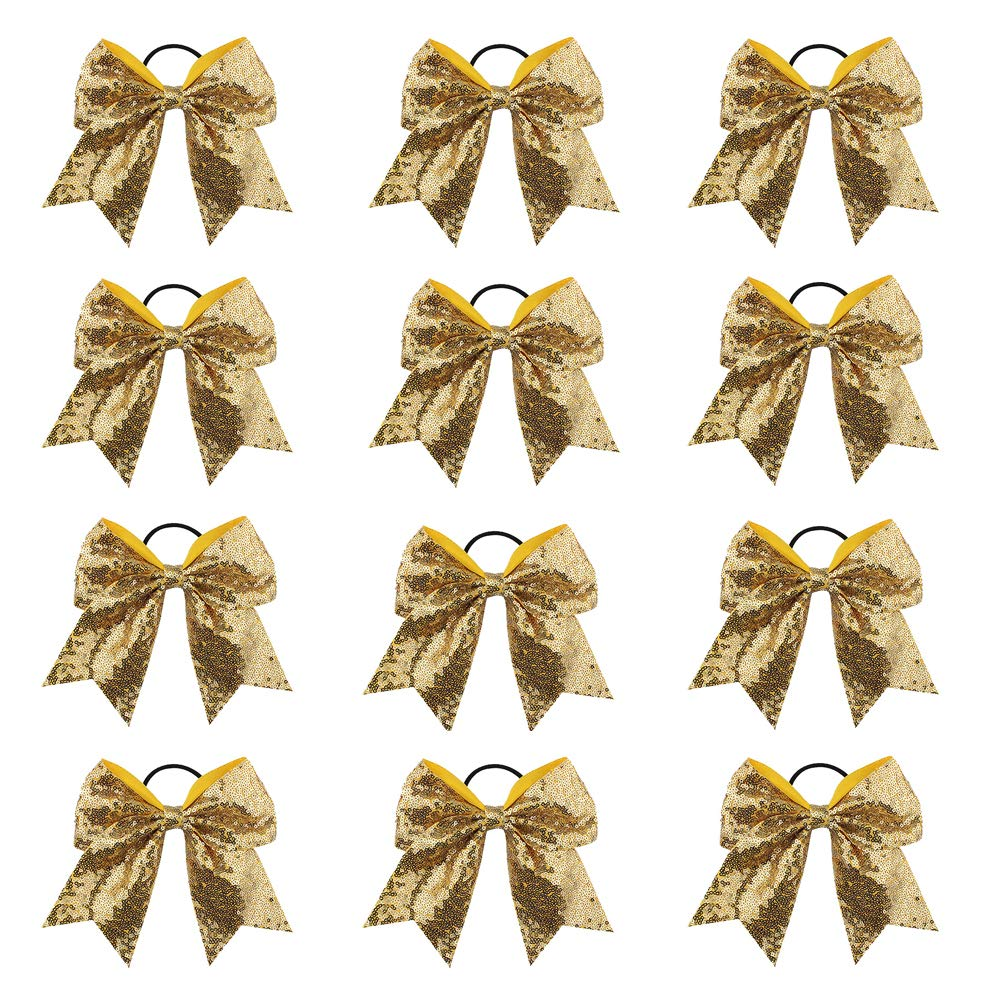 Oaoleer 12PCS 7'' Large Glitter Cheer Hair Bows Ponytail Holder Elastic Band Handmade for Cheerleading Teen Girls College Sports (Gold) by Oaoleer