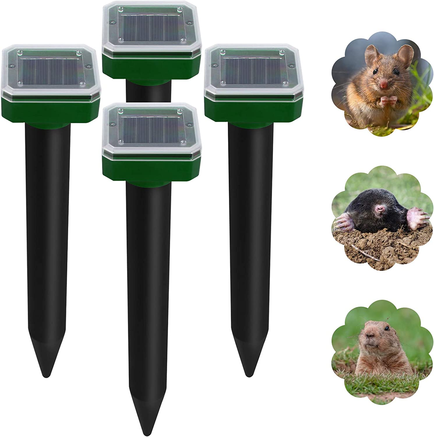 Pet Safe Pack of 4 Sonic Mole Repellent Solar Powered for Lawn Garden Yard, IP65 Waterproof Outdoor Ultrasonic Snake Repellent for Get Rid of Mole, Gopher, Snakes, Vole and Other Underground Pests