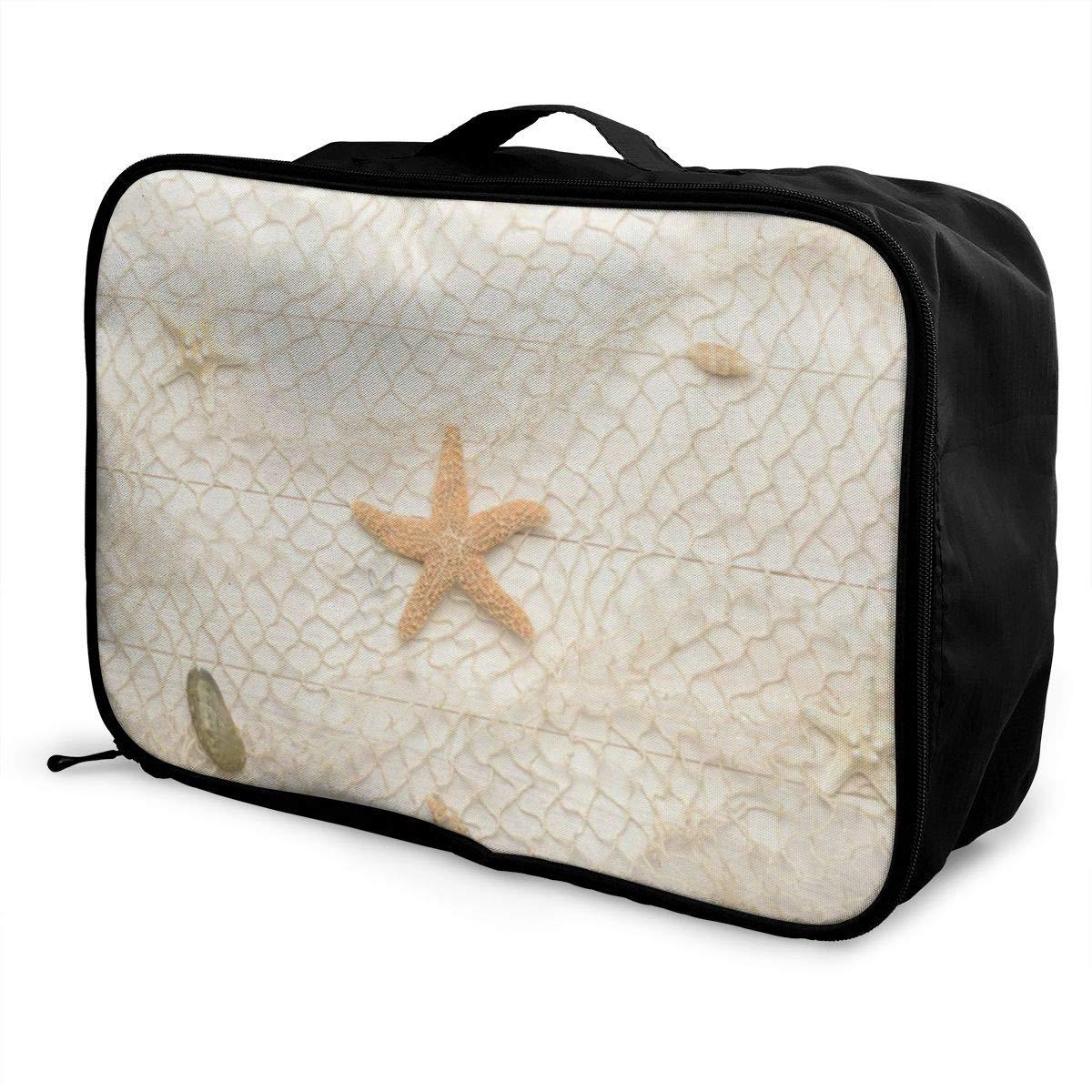 Travel Bags Seashell Starfish Portable Duffel Trolley Handle Luggage Bag