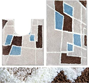 "ROMAHOME Geometry Bath Mat Bathroom Rug Set 2 Piece U-Shape Contoured Mat + 32""x20"" Microfiber Plush Water Absorbent Thicker Shaggy Toilet Rugs Carpet Machine Washable Non Slip Blue Warm Beige Brown"
