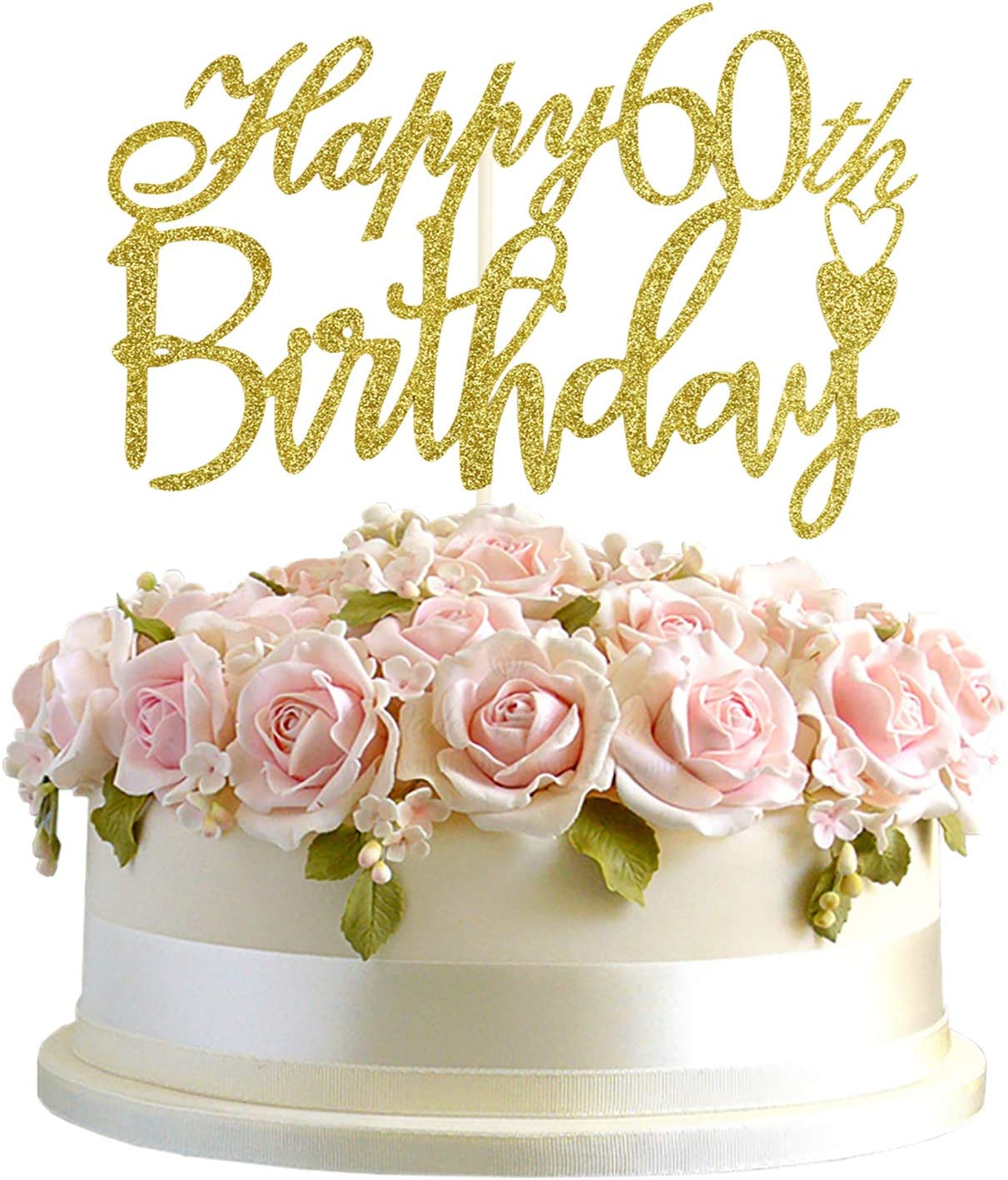 Fabulous Amazon Com Junucubo 60Th Birthday Cake Topper Gold Glitter Cheers Funny Birthday Cards Online Inifodamsfinfo
