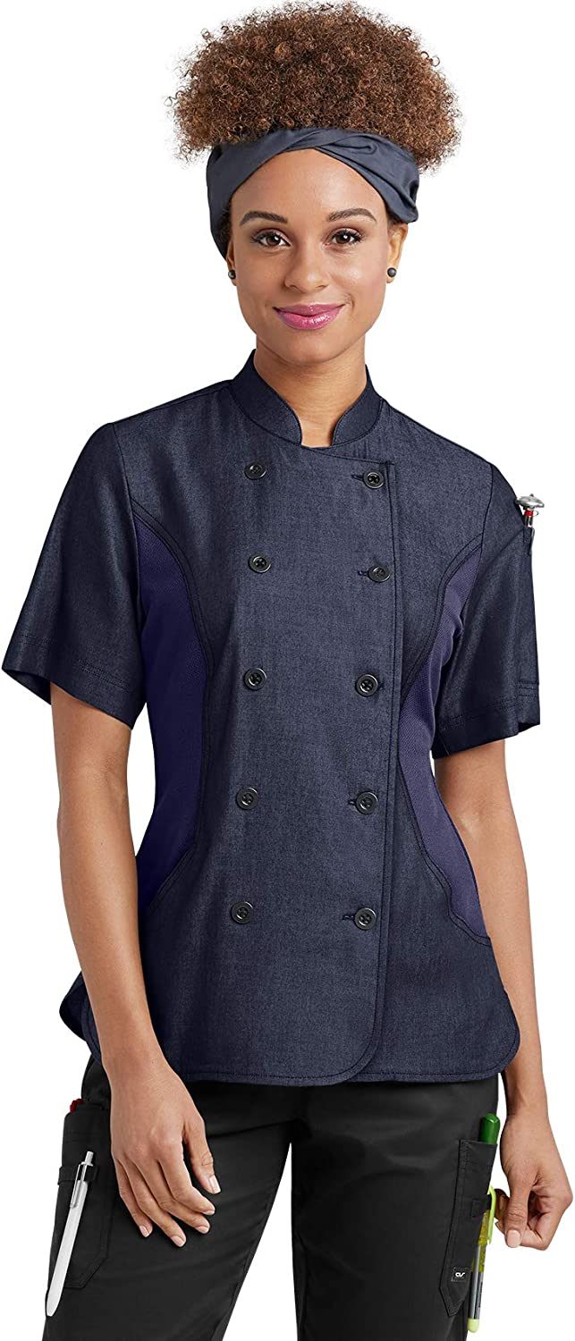 Women's Chambray Chef Coat with Mesh Side Panels (XS-3X, 2 Colors)