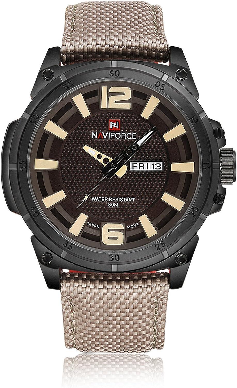 Reloj de pulsera para hombre, estilo casual, militar, deportivo, impermeable, clásico, analógico, de cuarzo, correa de nailon