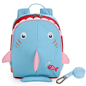 Yodo Upgraded Kids Insulated Toddler Backpack with Safety Harness Leash and Name Label - Playful Preschool Kids Lunch Bag, Shark