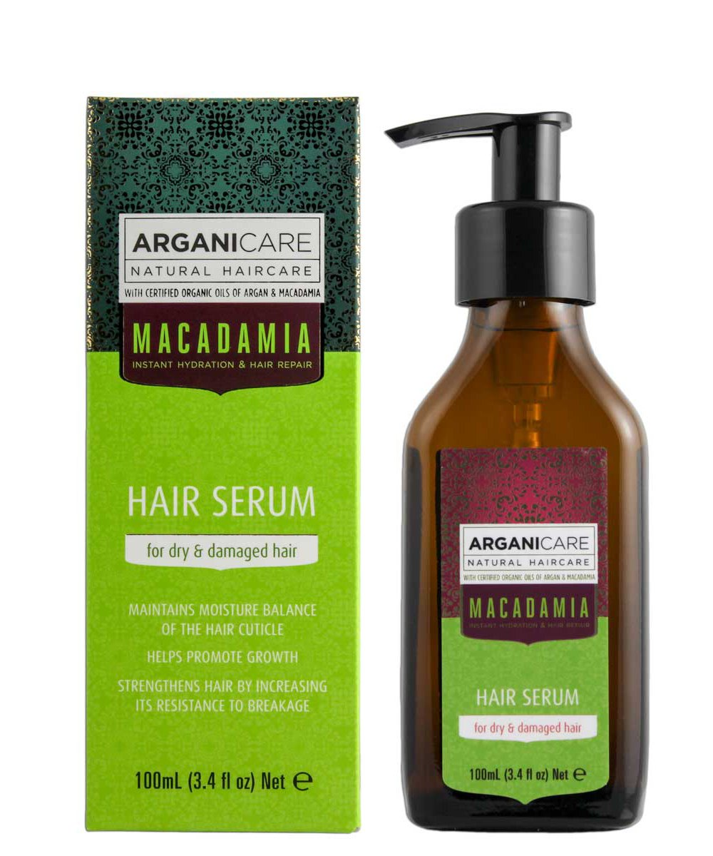 Arganicare Macadamia Hair Serum for Dry and Damaged Hair with Organic Argan Oil and Macadamia Oil (3.4 Fluid Ounce)