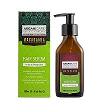 Arganicare Macadamia Hair Serum for Dry and Damaged Hair with Organic Moroccan Argan Oil and Macadamia Oil (3.4 Fluid Ounce)