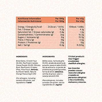 TRILLIONS | Barritas de proteinas con harina de grillo sabor Chocolate con Naranja | 100% Ingredientes naturales | Sin azucar añadida y sostenibles | ...