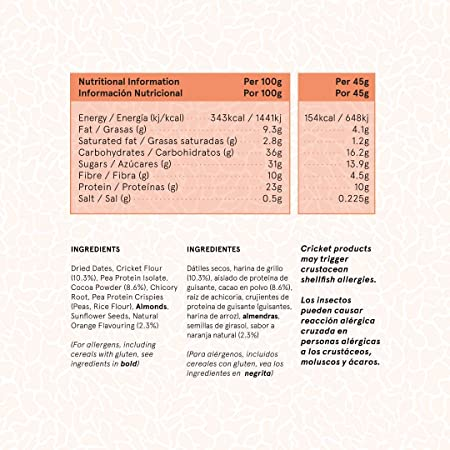 TRILLIONS   Barritas de proteinas con harina de grillo sabor Chocolate con Naranja   100% Ingredientes naturales   Sin azucar añadida y sostenibles   ...