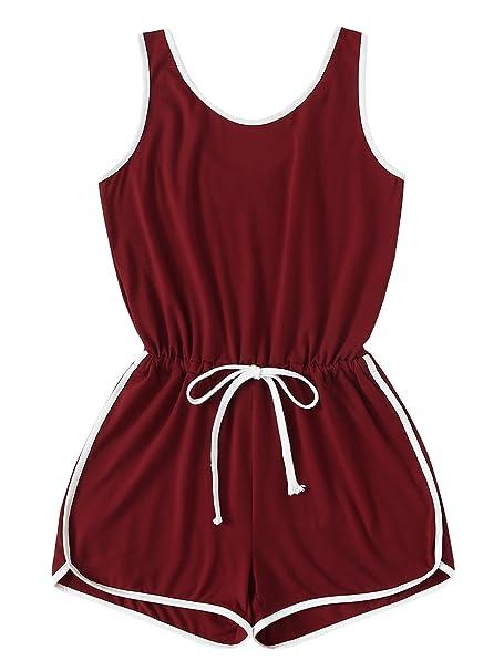 Amazon.com  SweatyRocks Women s Sports Short Romper Sleeveless Drawstring  Ringer Jumpsuit Playsuit  Clothing 1202f3487