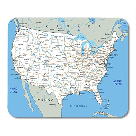 Amazon.com : Emvency Mouse Pads USA High Detailed United ...