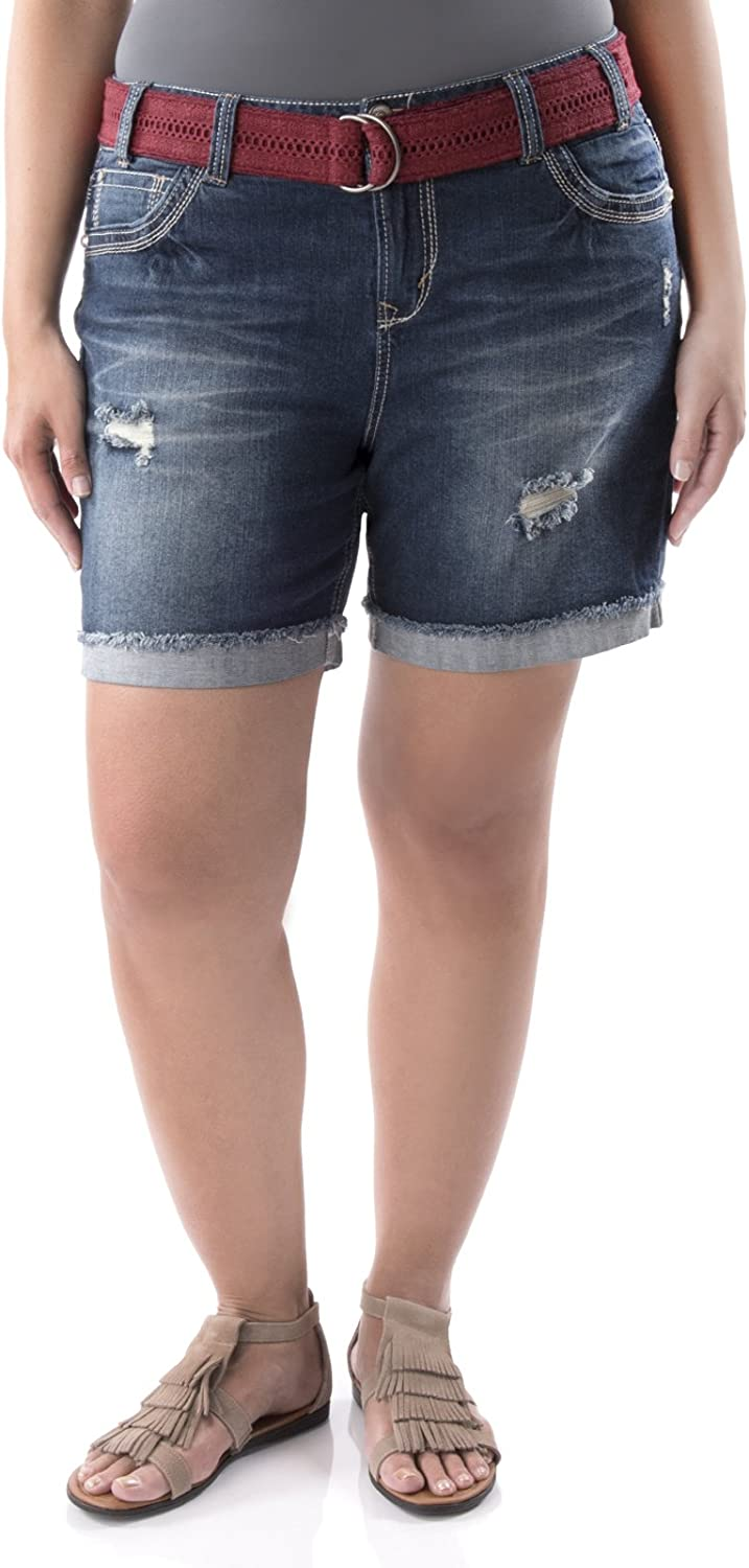 WallFlower Plus Size Luscious Curvy Belted Mid Thigh Denim Shorts