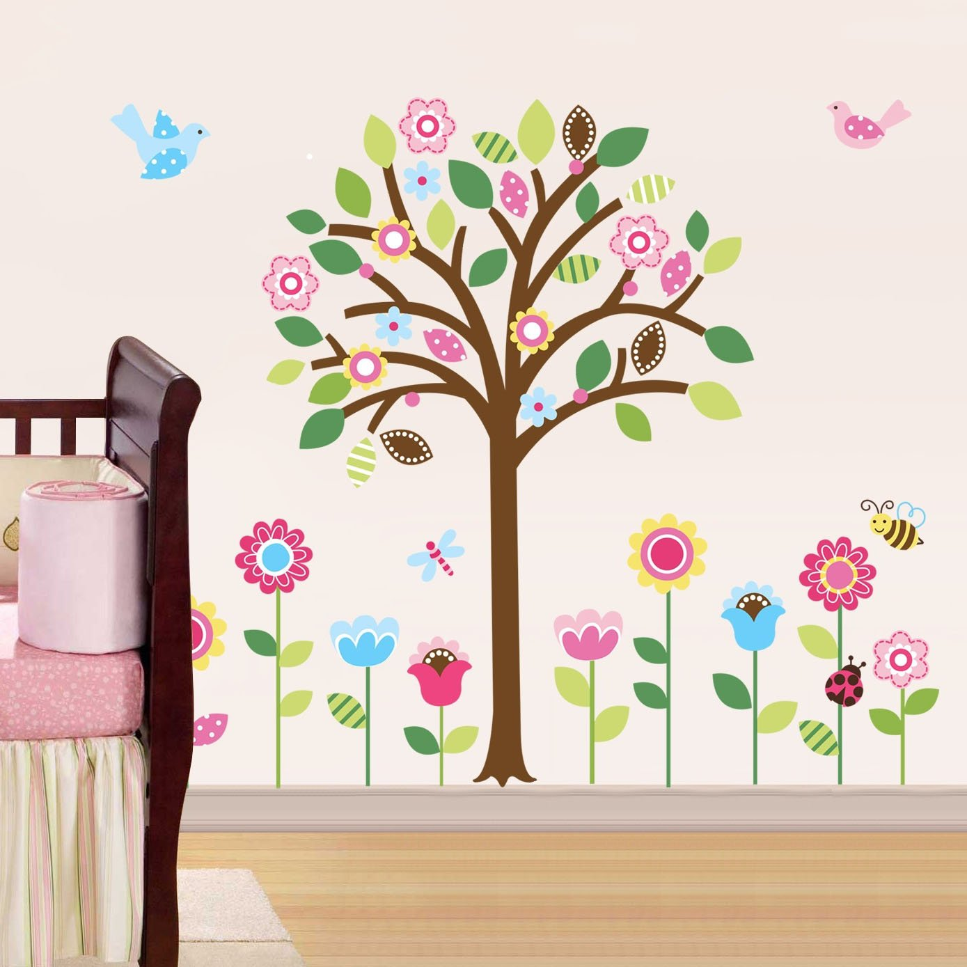 Kids room wall decor stickers - Amazon Com Pretty Pastel Garden Giant Peel Stick Wall Art Sticker Decals Baby