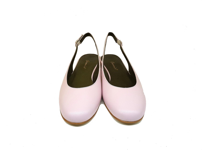 Gennia Carling - Leder Flache Damen Leder - Ballerinas mit 1 cm Absatz + Offene Ferse + Schnallenverschluss Pink Pastell 1c2c33