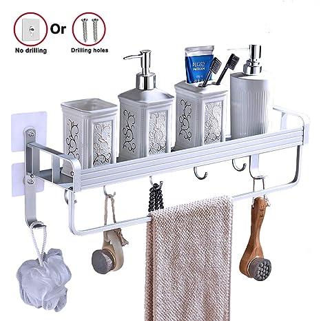 Yeegout adhesivo estanteria ducha con barra de toalla y ganchos, aluminio estanteria baño sin taladro montado en la pared estante para baño para ...