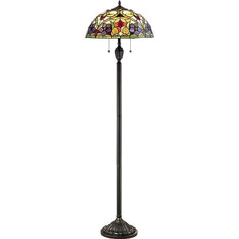 Quoizel Tfvt9362vb Violets Tiffany Floor Lamp 2 Light 200 Watts Vintage Bronze 62 H X 18 W