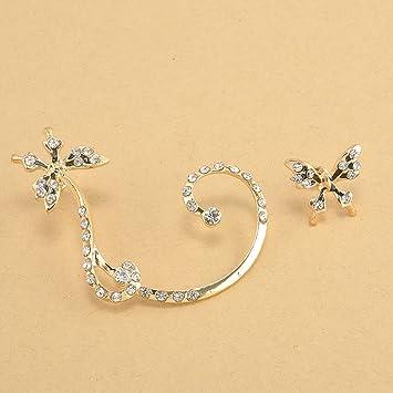 2e6a334fa399 Elenxs Diamante de la aleación de la Mariposa gótica del Clip del Hueso del  oído en los Pendientes del Abrigo del oído Cuff zarcillos para Mujeres de  la ...