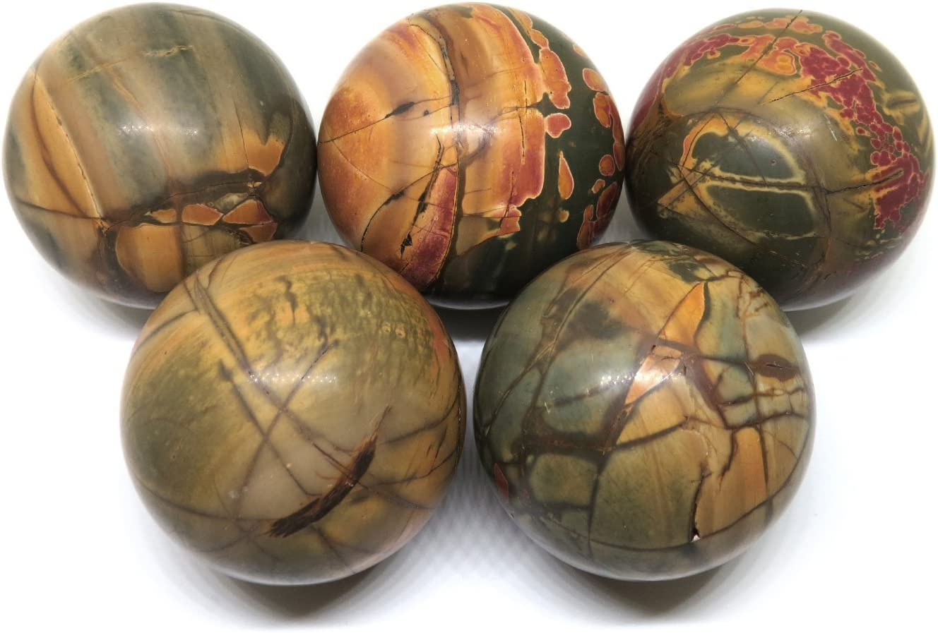 NSC Trading 50mm Picasso Jasper Marble Stone Crystal Gemstone Sphere with Stand