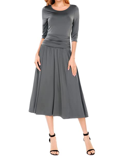 Meaneor Women's Half Sleeve Ruched Waist Long Evening Cocktail Dress Gray M