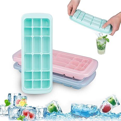 Acmetop Eiswürfelform, Eiswürfelformen,Silikon Eiswuerfel Form Eiswuerfelbehaelter mit Deckel Ice Cube Tray,LFGB Zertifiziert
