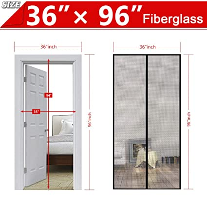 Upgraded Screen Door, 36 X 96 Inch Gray Magnetic Screen Door,Good Light  Transmission