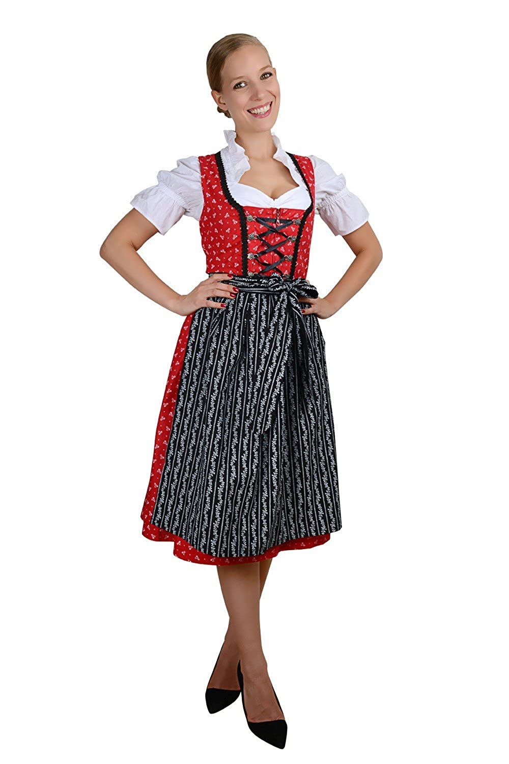 Edelnice Trachtenmoden Bavarian Women's Midi Dirndl Dress 3-pcs with Apron+Blouse Black red