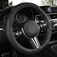 Black Panther Car Steering Wheel Cover with 3 Sections Anti-Slip Design, 15 inch Universal - Black