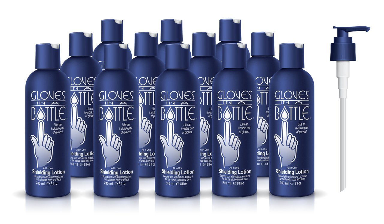 12-Pack Gloves In A Bottle Shielding Lotion - Great for Dry Itchy Skin! Grease-less and Fragrance Free! (8oz-240ml)