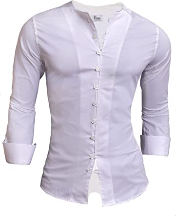 D&R Fashion - Camisa Casual - Cuello Redondo - Manga Larga - para Hombre: Amazon.es: Ropa y accesorios