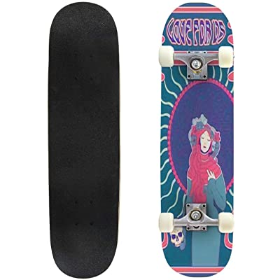 Classic Concave Skateboard Psychedelic Art 1960s Hippie Style Poster Art Nouveau Frame Young Longboard Maple Deck Extreme Sports and Outdoors Double Kick Trick for Beginners and Professionals : Sports & Outdoors