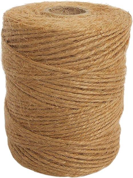 ANSIO Hilo de yute, 333 pies de cuerda de yute 3 capas de 2 mm de grosor, cuerda de yute para decoración Jardín Floristería DIY Arts Bundling Crafts & ...