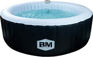 """BEYOND MARINA 82""""x25"""" Portable Inflatable Hot Tub Spa Round 6 Person Capacity with Bubble Jets and Built in Heater Pump"""