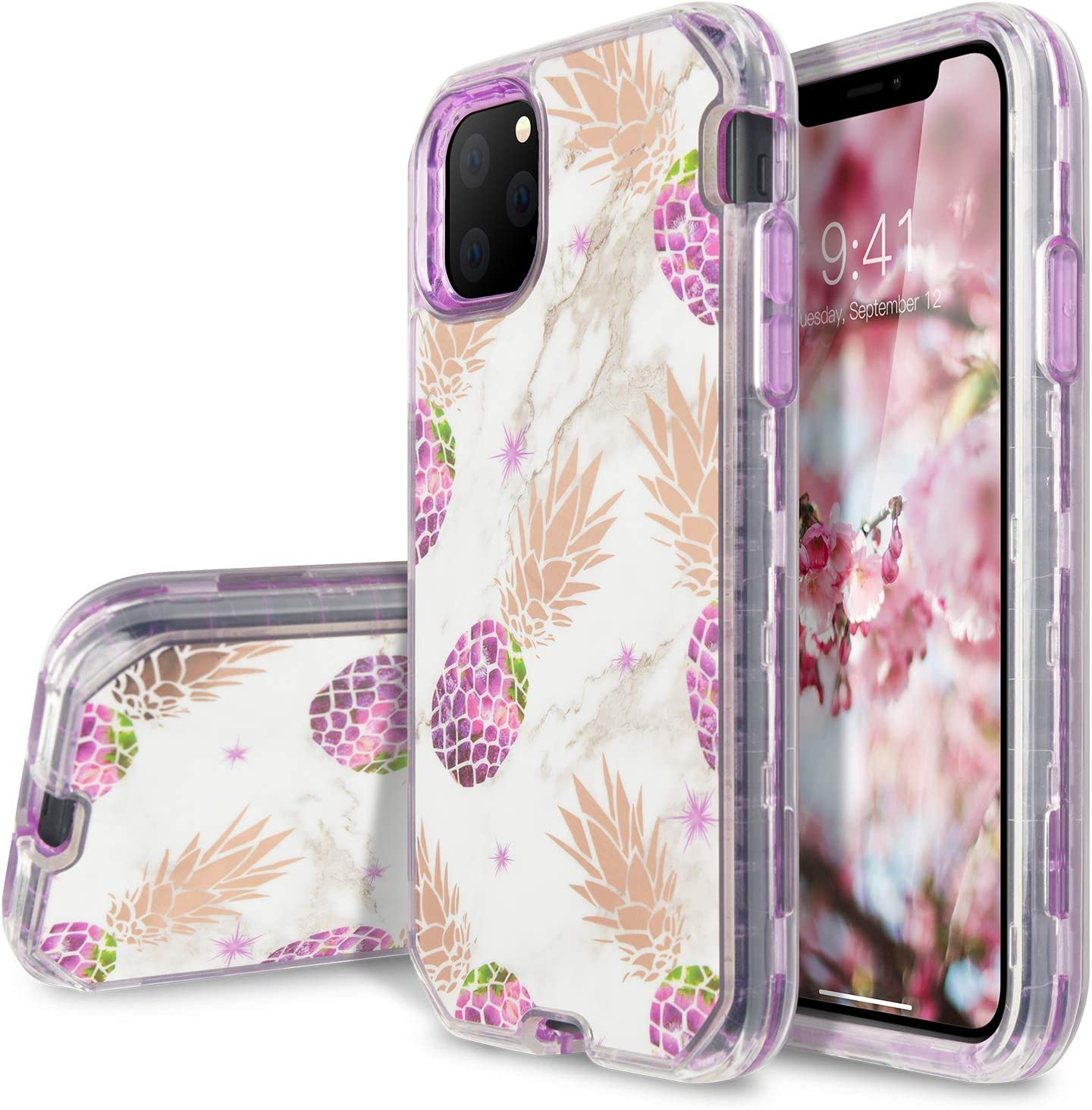 iPhone 11 Case, Full Body 3 in 1 Heavy Duty Hybrid Sturdy Armor Marble High Impact Shockproof Protective Anti-Scratch Cover Case for Apple iPhone 11,Purple Pineapple