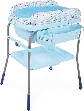 Chicco Cuddle&Bubble - Bañera y cambiador 2 en 1, plegable y compacta, peso 10 kg, color azul (Ocean)