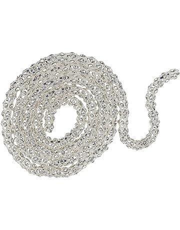1yard Coser Cadena De Diamantes De Imitación Redonda Recorta Artesanía De Plata Vestido De La Decoración