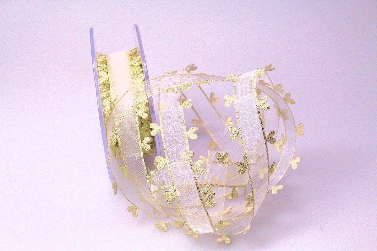 Christa-B/änder Organzaband Heart Picot Gold ohne Draht 25mm