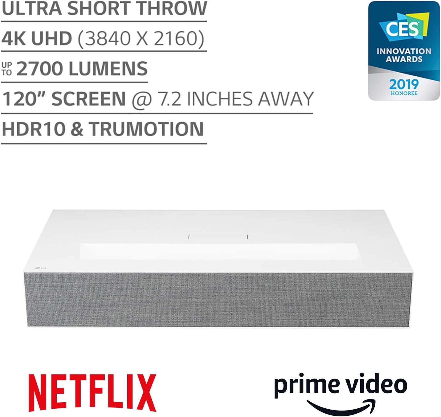 Up to 30% off on LG HU85LA Ultra Short Throw 4K UHD Laser Smart Home Theater Cinebeam Projector with Alexa built-in, LG Thinq AI, the Google Assistant and LG webOS Lite Smart TV (Netflix, Amazon Prime and VUDU)