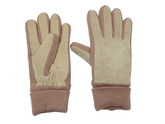 ec83ca740 Schonfeld Ladies Suede Leather Fleece Lined Gloves - Medium/Large (Beige)