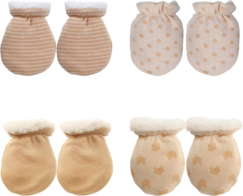 4 Pairs Baby Mitten Gloves Winter Warm Sherpa Lined Mittens Infant Newborn No Scrach Mittens for 0-6 Months