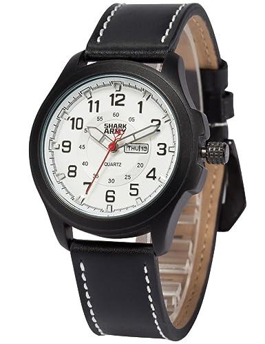 SHARK ARMY Reloj Hombrede de Cuarzo, Correa de Cuero Negro, SAW121: Amazon.es: Relojes
