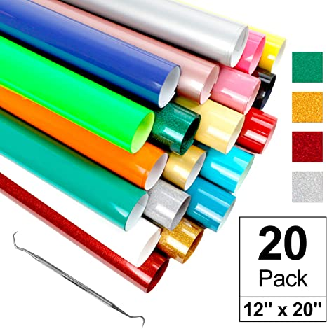 10 Inch by 5 Feet HTV Vinyl Rolls Easy to Weed Iron on Vinyl 12Pack Assorted Colors Easy to Cut for Cricut /& Cameo Glitter HTV Heat Transfer Vinyl Bundle